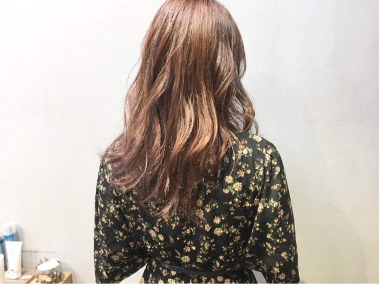 ピンクアッシュ ピンクブラウン ラベンダーピンク セミロングヘアスタイルや髪型の写真・画像