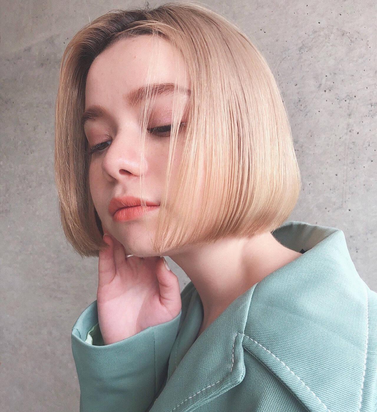 切りっぱなしボブ ミニボブ ボブ ハイトーンヘアスタイルや髪型の写真・画像