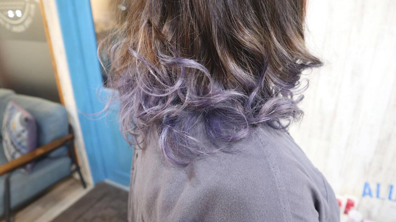 パープル ガーリー グラデーションカラー ラベンダーヘアスタイルや髪型の写真・画像