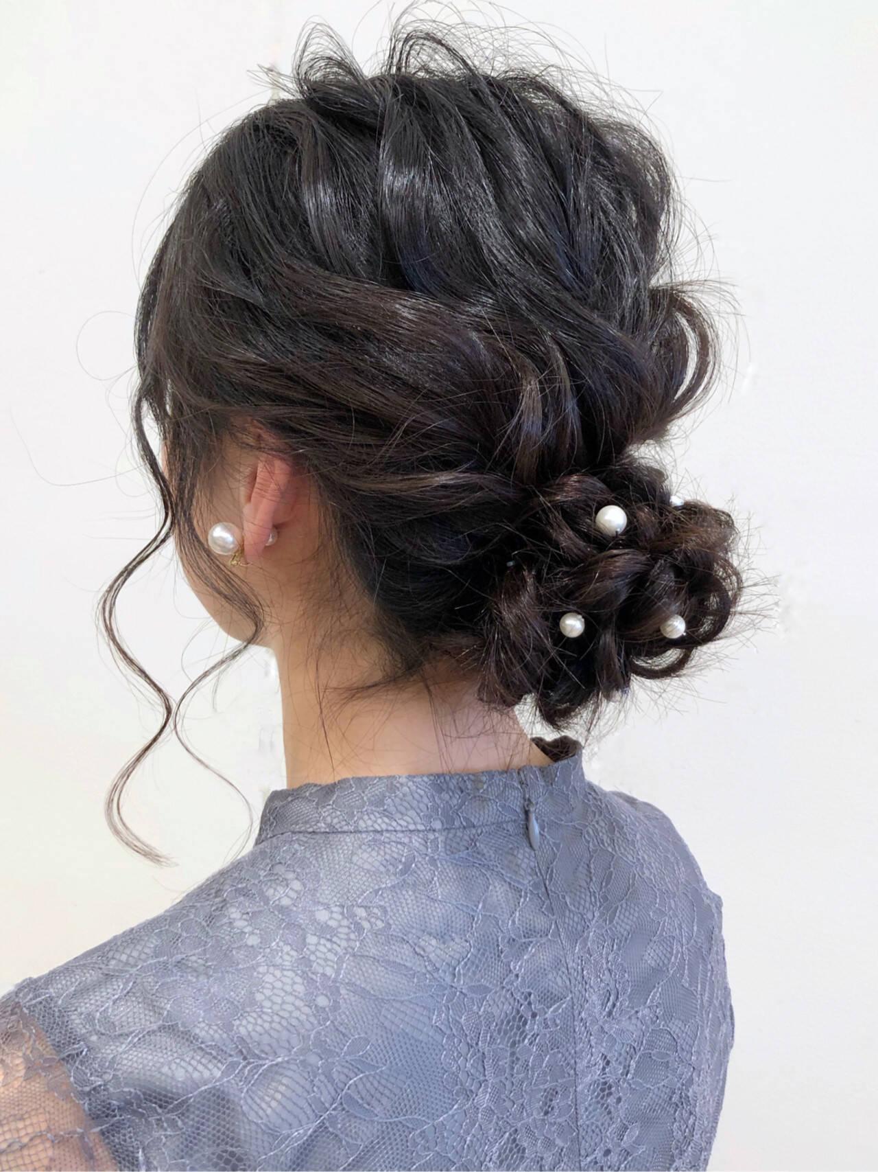 簡単ヘアアレンジ 結婚式 ヘアアレンジ ナチュラルヘアスタイルや髪型の写真・画像