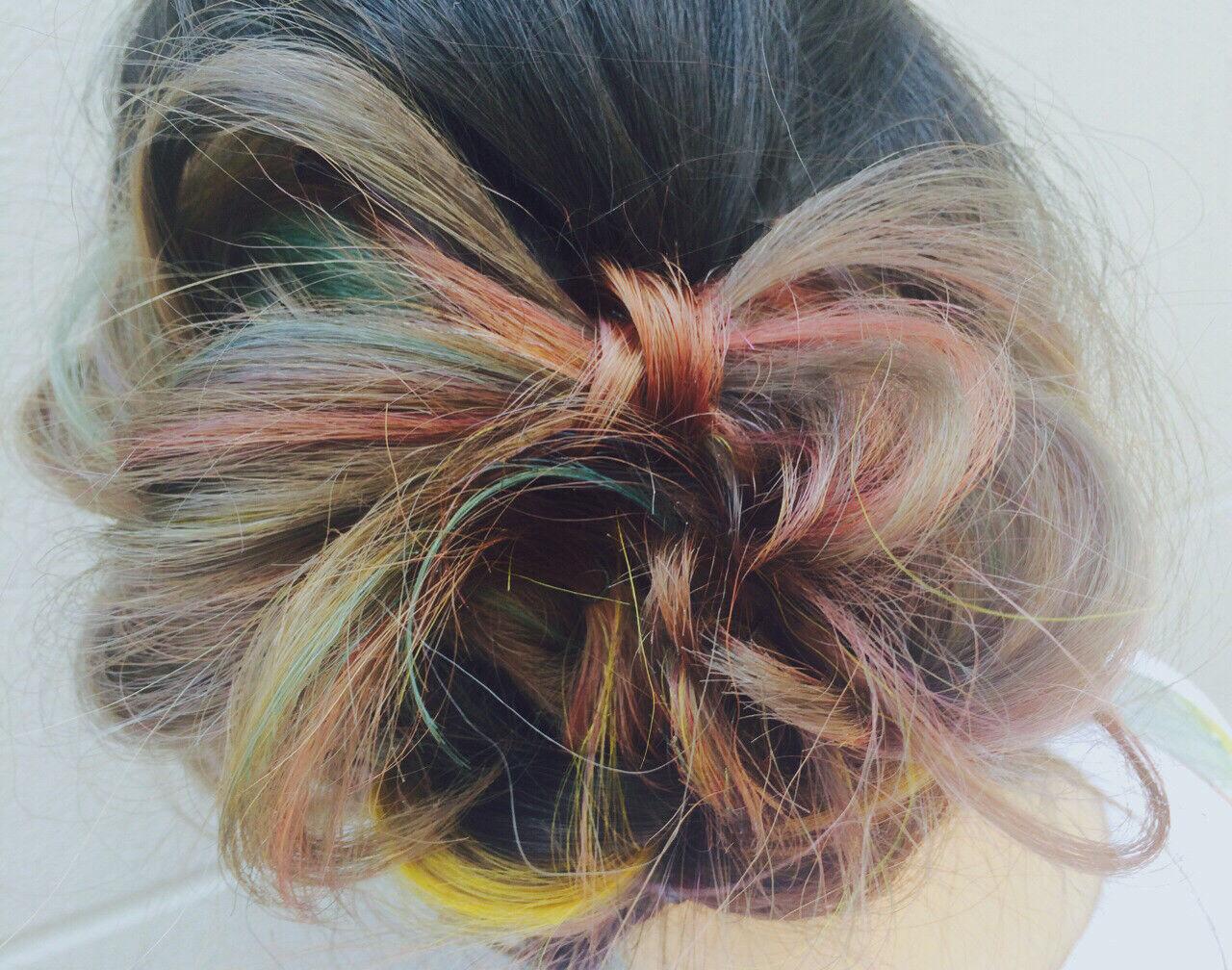 ヘアアレンジ ストリート セミロング ダブルカラーヘアスタイルや髪型の写真・画像