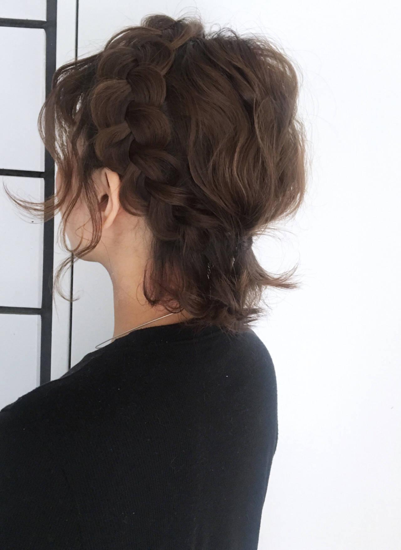 フェミニン ボブ ヘアアレンジ ショートヘアスタイルや髪型の写真・画像