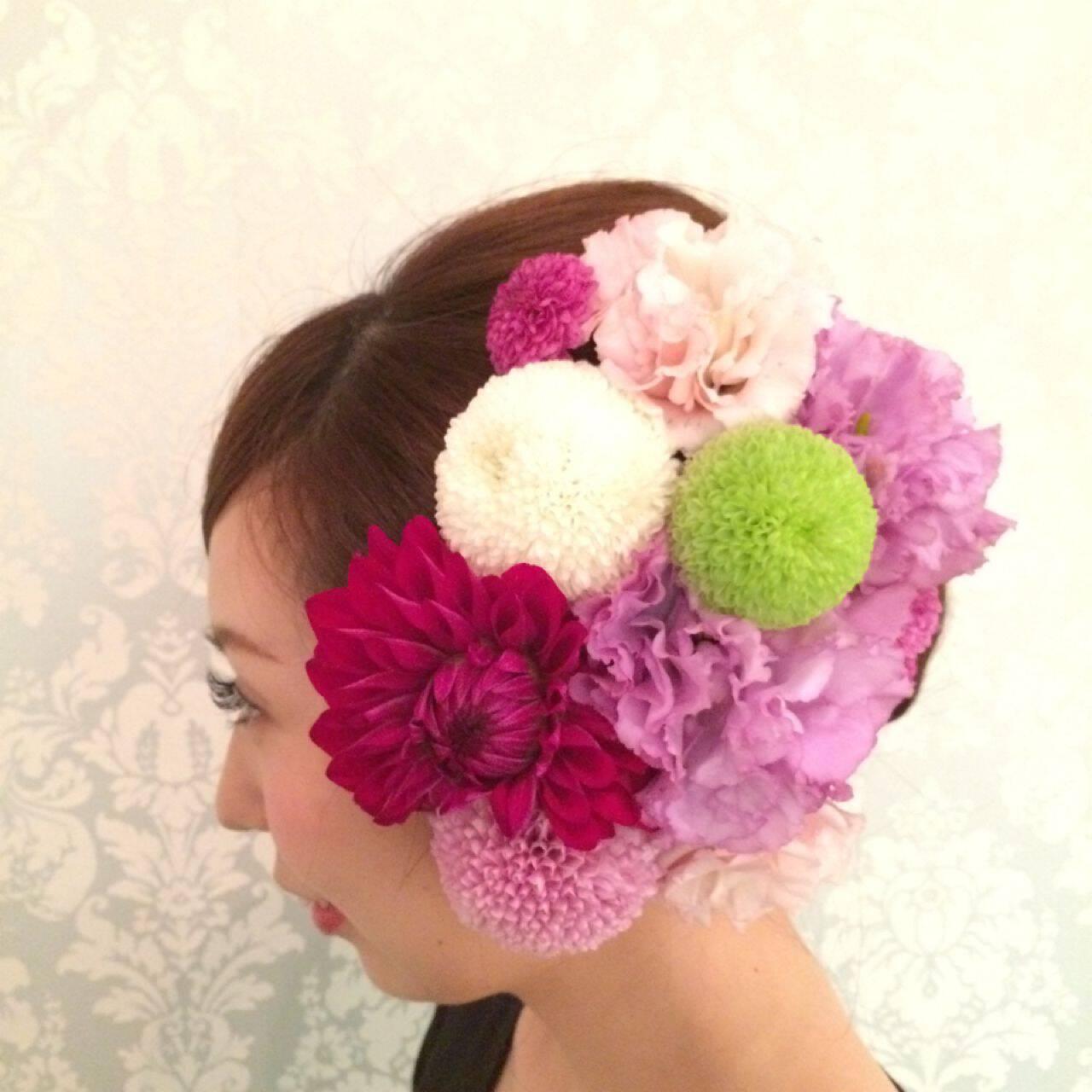 ロング 着物 花 和装ヘアスタイルや髪型の写真・画像