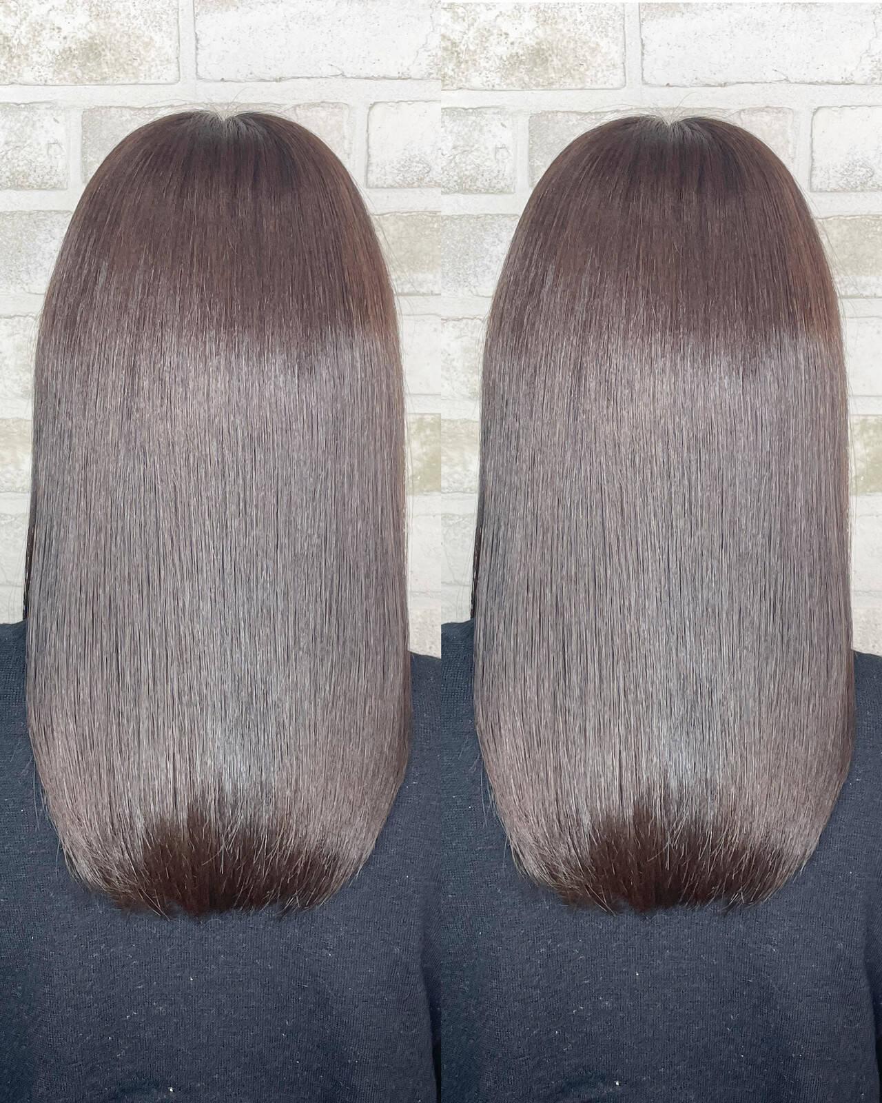 透明感カラー ロング 髪質改善トリートメント 髪質改善カラーヘアスタイルや髪型の写真・画像