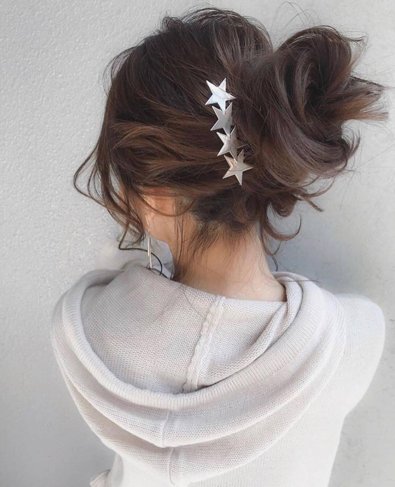 ヘアアレンジ セミロング 結婚式 デートヘアスタイルや髪型の写真・画像