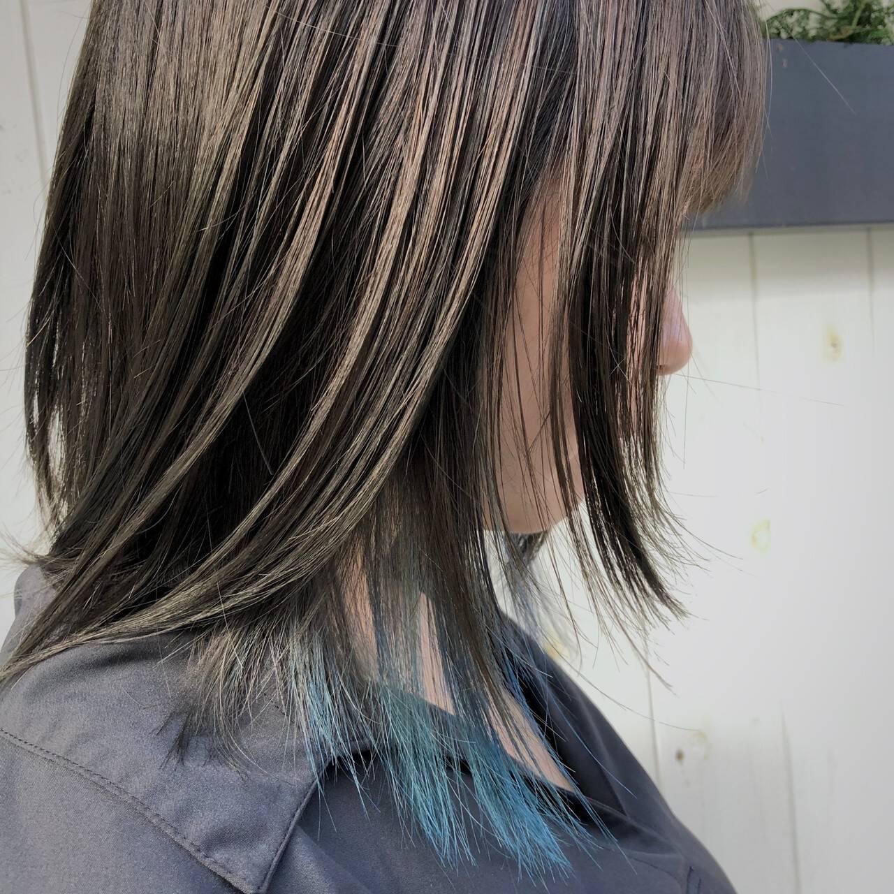 ブリーチカラー ハイトーンカラー ハイライト ミディアムヘアスタイルや髪型の写真・画像