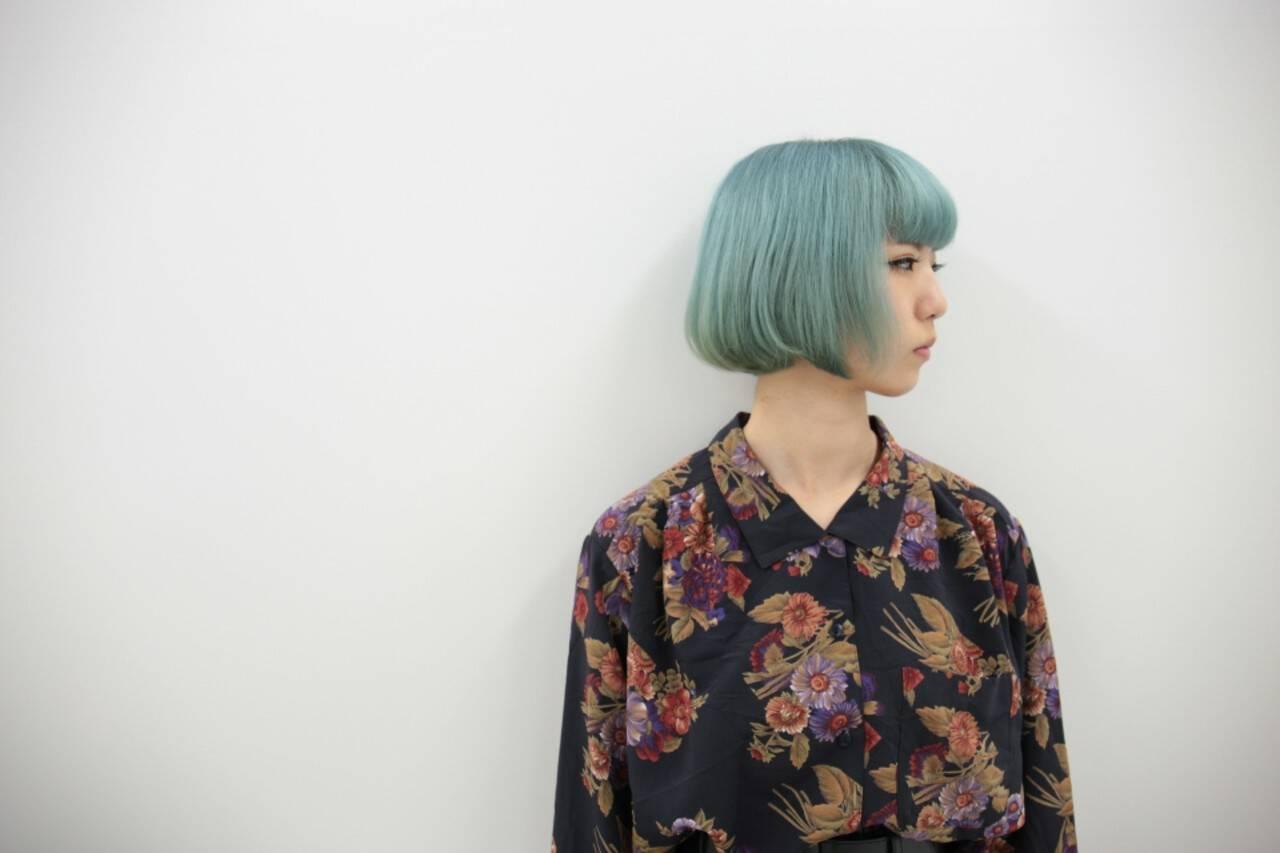 モード ブリーチ ボブ ダブルカラーヘアスタイルや髪型の写真・画像