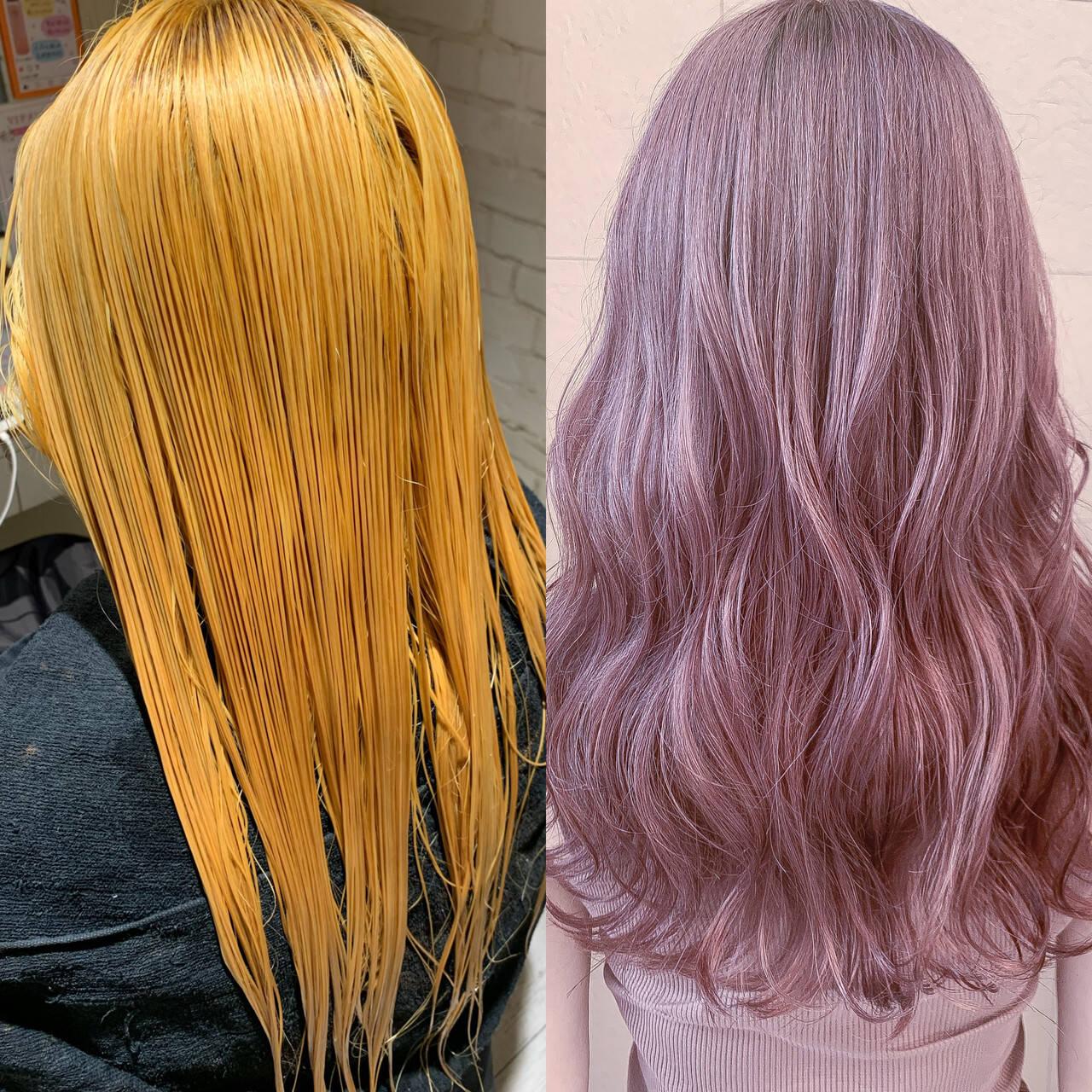 フェミニン デザインカラー ロング ラベンダーカラーヘアスタイルや髪型の写真・画像