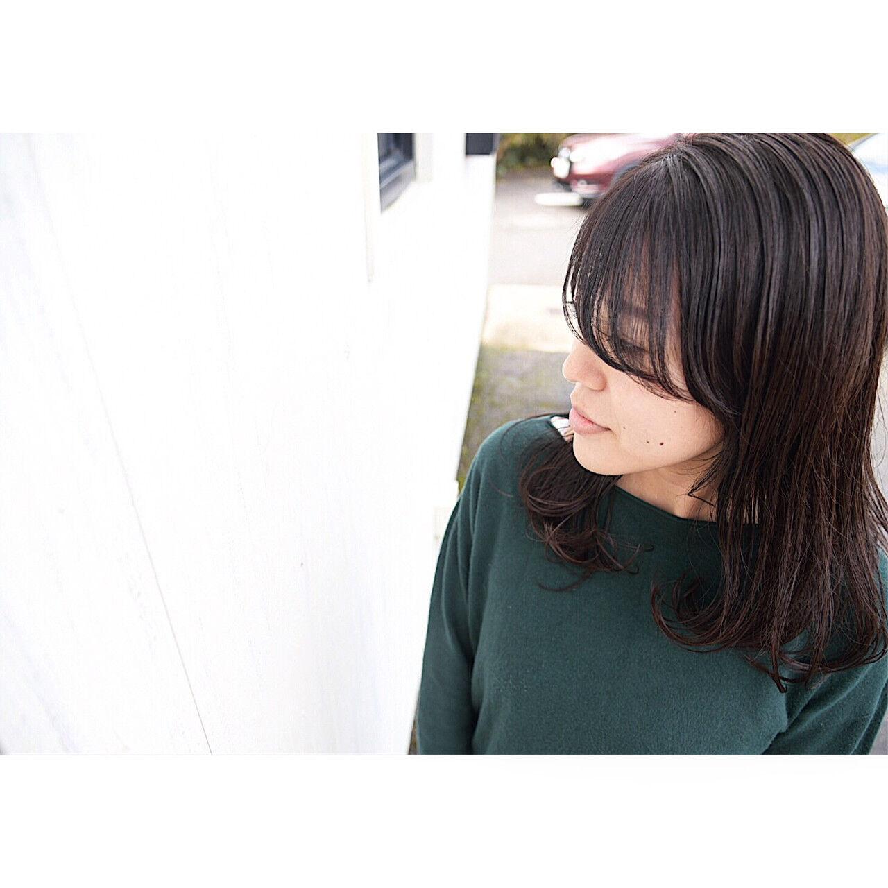 秋 ナチュラル セミロング 暗髪ヘアスタイルや髪型の写真・画像