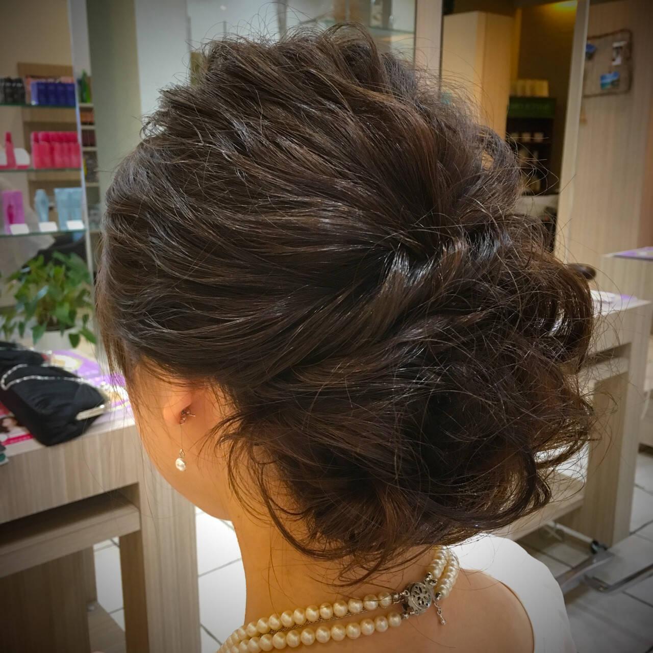 アップスタイル セミロング 波ウェーブ ヘアアレンジヘアスタイルや髪型の写真・画像