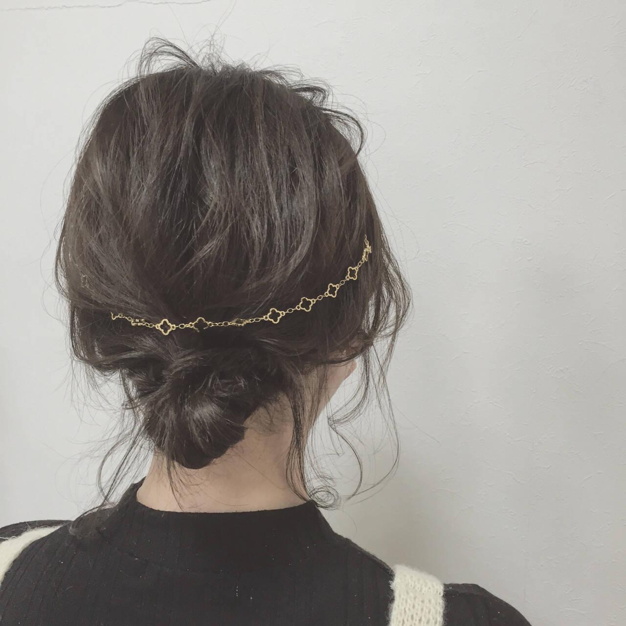 簡単ヘアアレンジ ボブ ショート カチューシャヘアスタイルや髪型の写真・画像