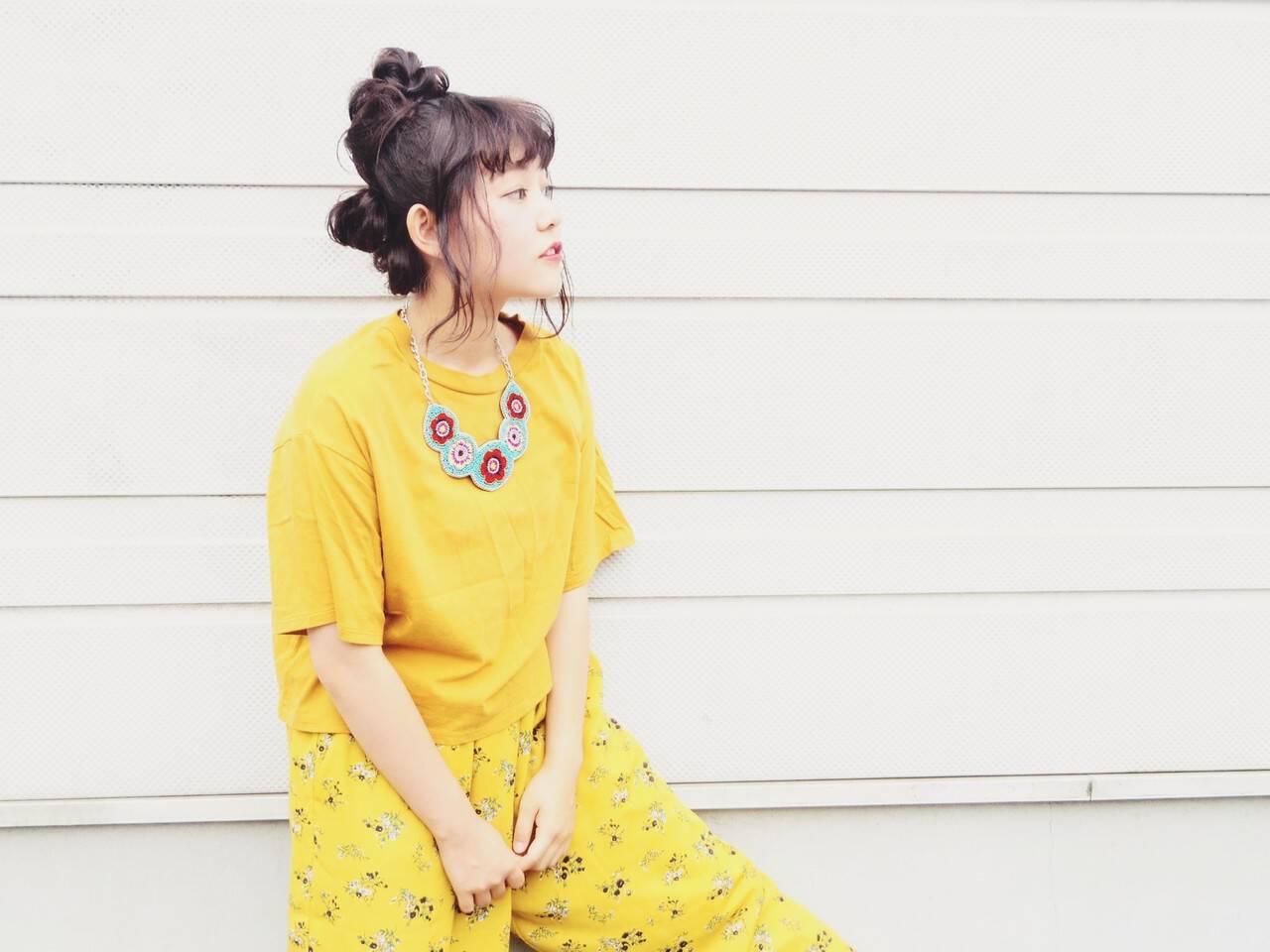 夏 お団子 ヘアアレンジ 簡単ヘアアレンジヘアスタイルや髪型の写真・画像
