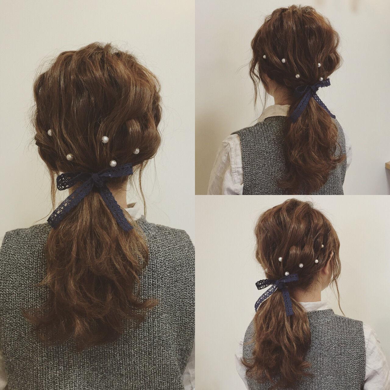 セミロング 結婚式 簡単ヘアアレンジ ヘアアレンジヘアスタイルや髪型の写真・画像
