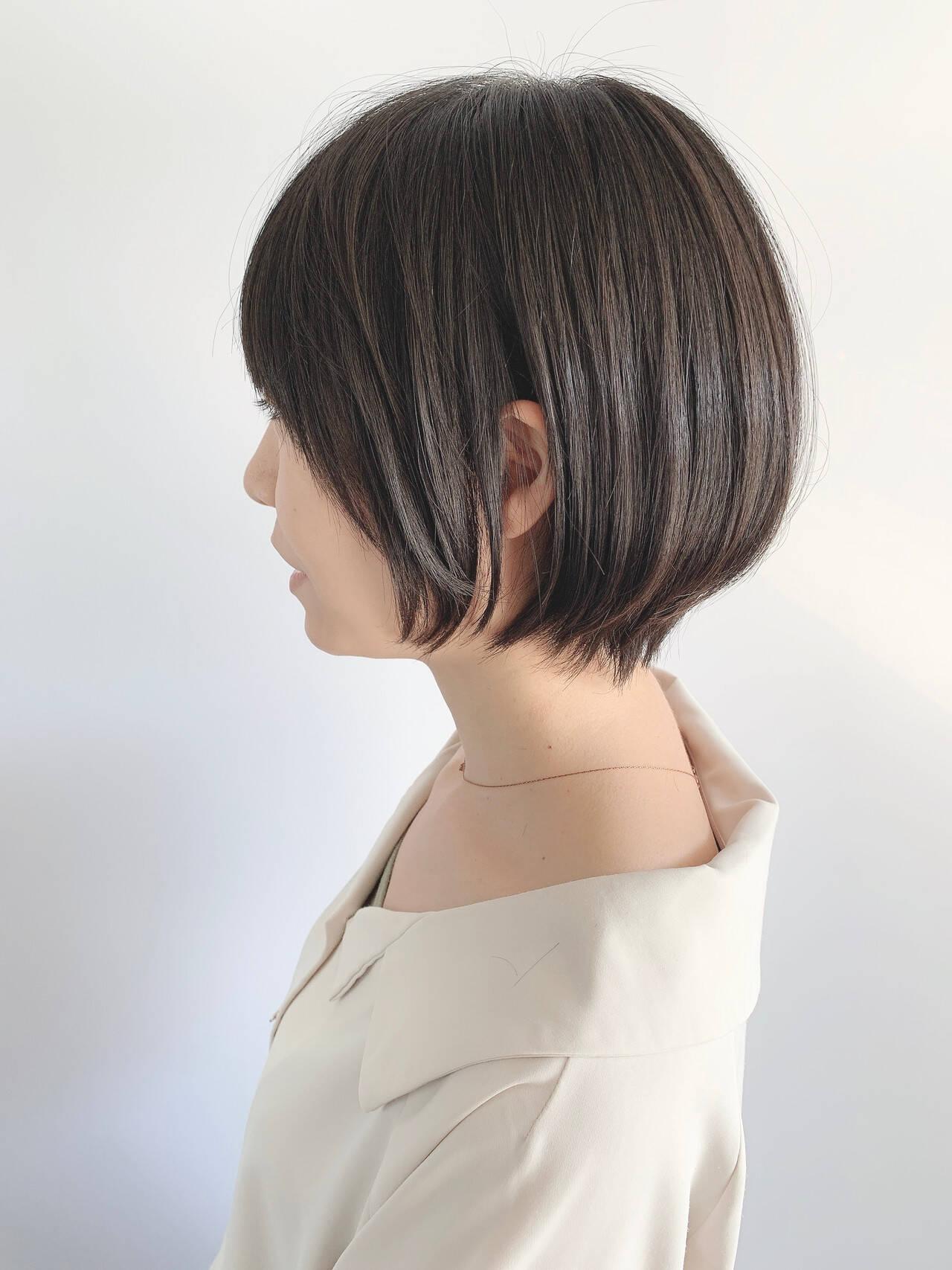 ナチュラル ショートヘア ショートボブ 黒髪ショートヘアスタイルや髪型の写真・画像