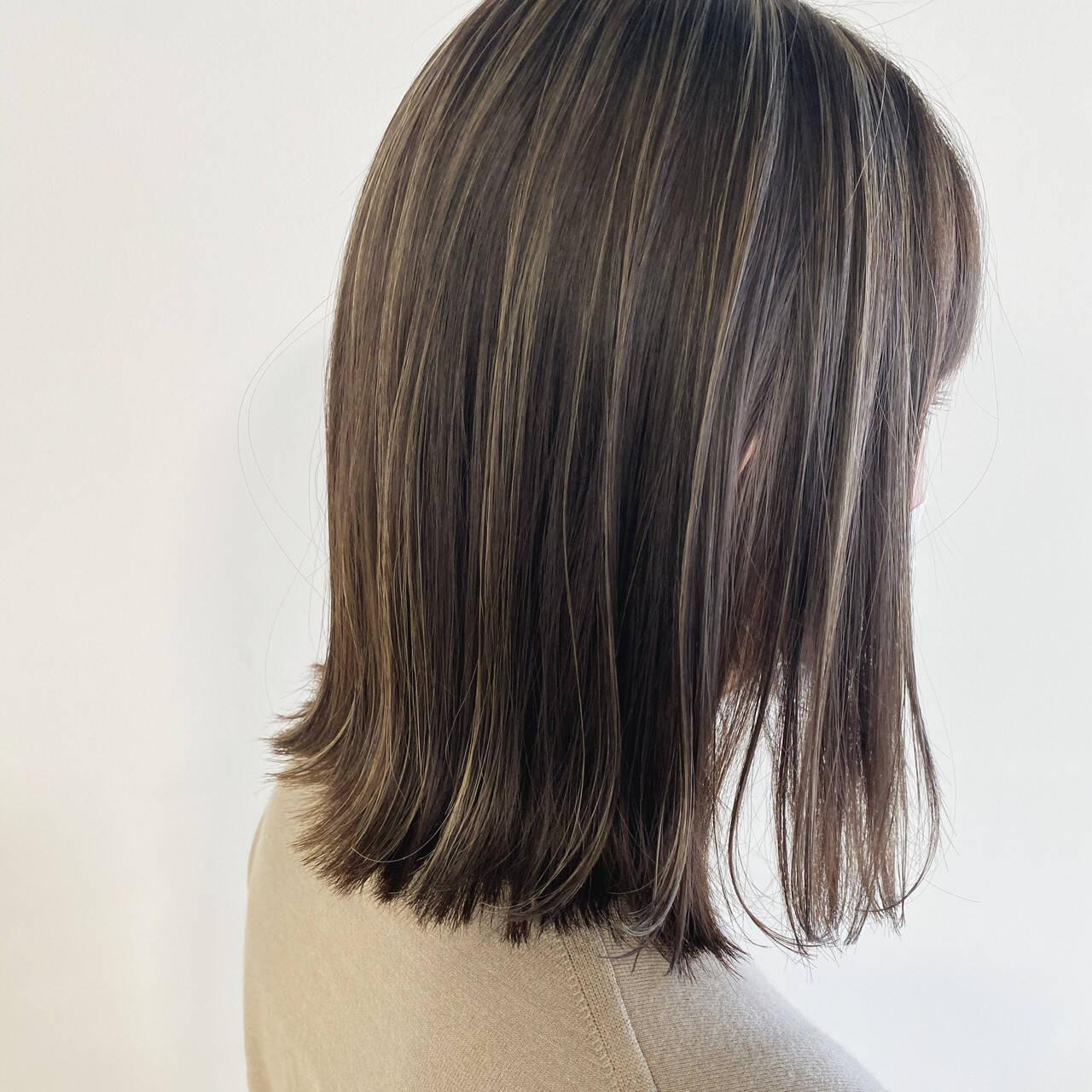 3Dハイライト ナチュラル ボブ ハイライトヘアスタイルや髪型の写真・画像