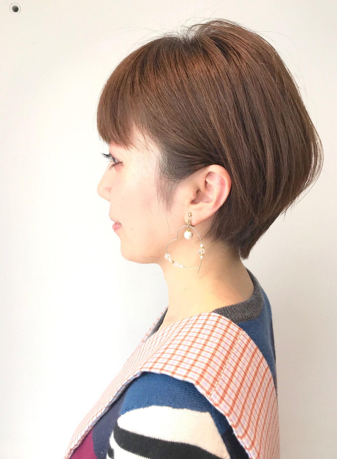 ショートボブ デート ショート ナチュラルヘアスタイルや髪型の写真・画像