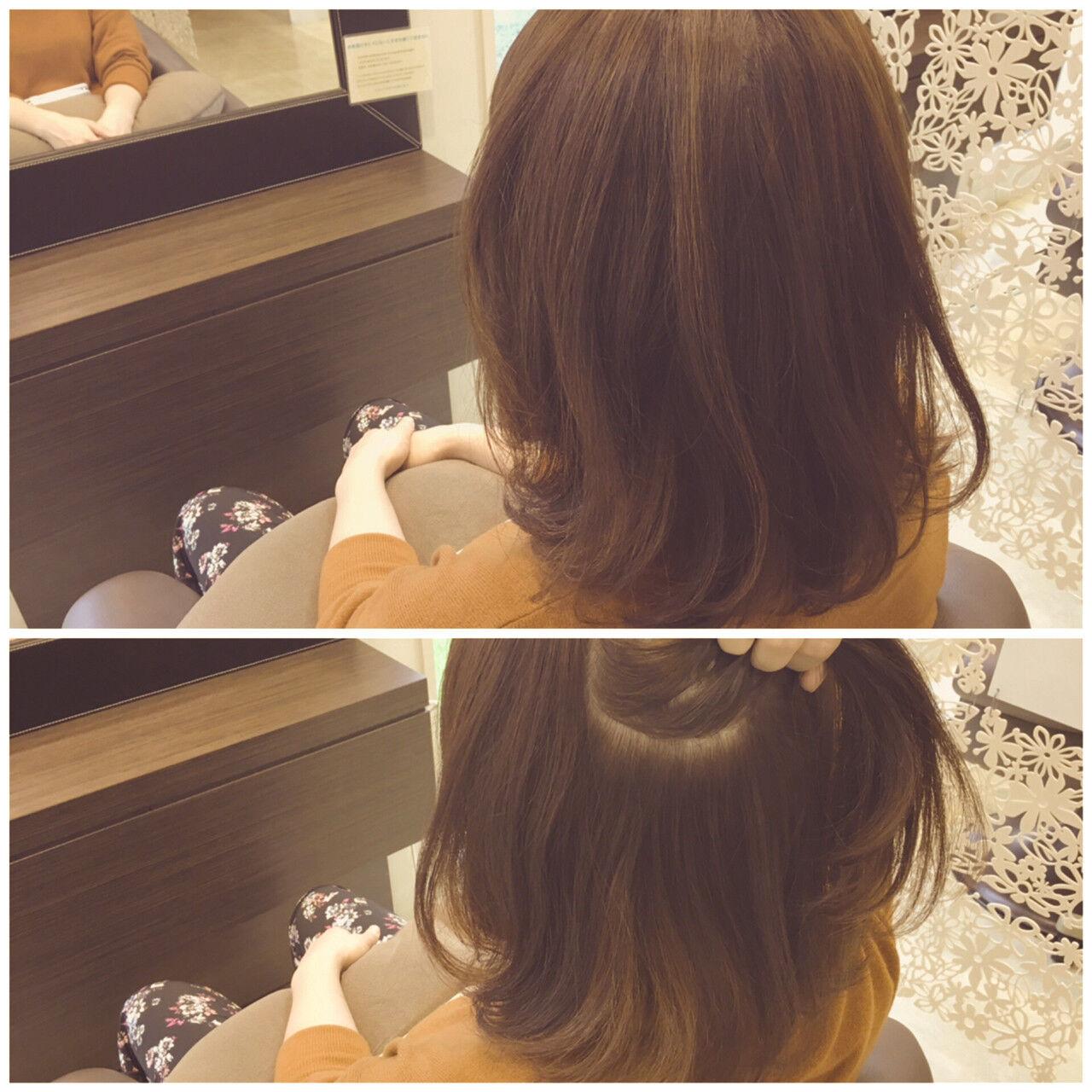 抜け感 ハイライト インナーカラー ミディアムヘアスタイルや髪型の写真・画像