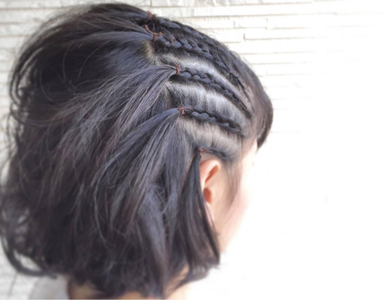 黒髪 ボブ 編み込み コーンロウヘアスタイルや髪型の写真・画像