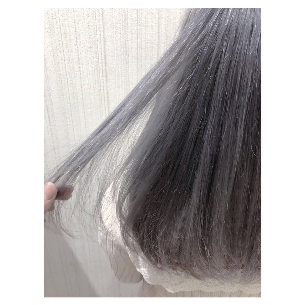 外国人風カラー ガーリー アッシュ セミロングヘアスタイルや髪型の写真・画像