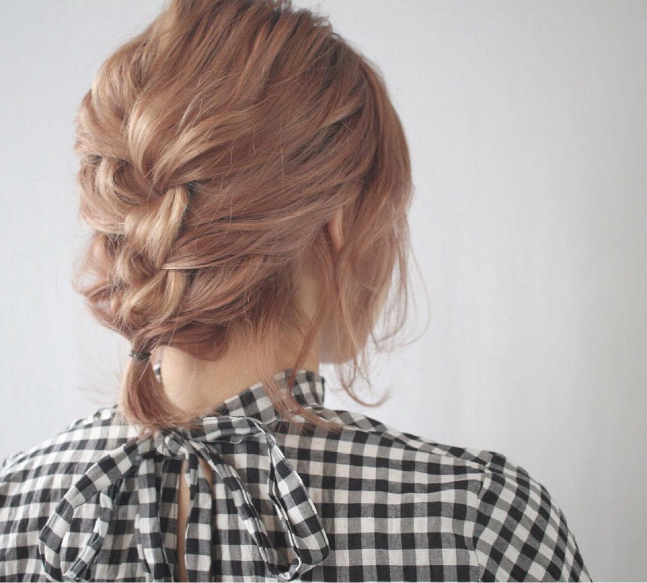 ヘアアレンジ 簡単ヘアアレンジ 編み込み ガーリーヘアスタイルや髪型の写真・画像