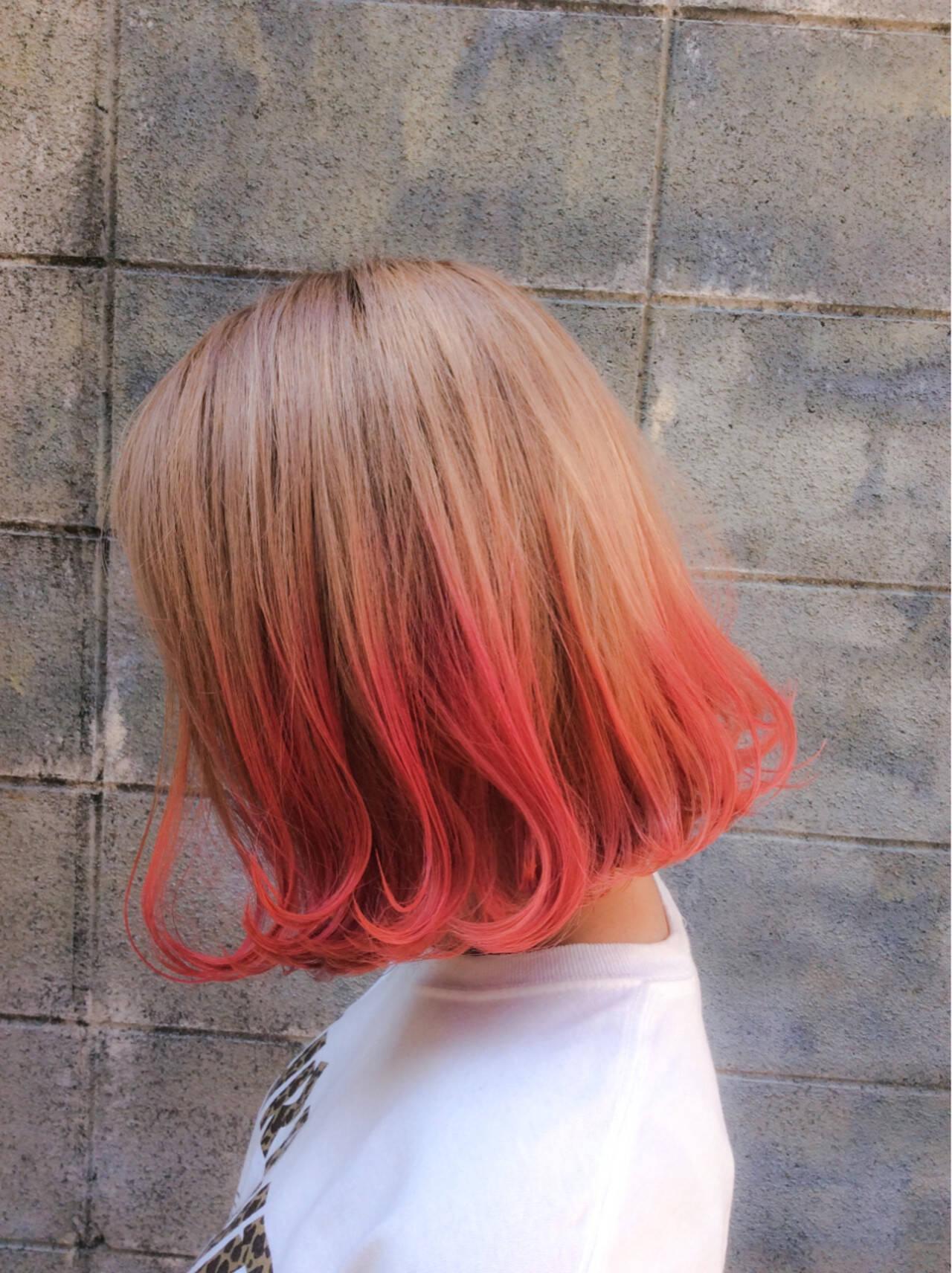ボブ ストリート ピンク ナチュラルヘアスタイルや髪型の写真・画像