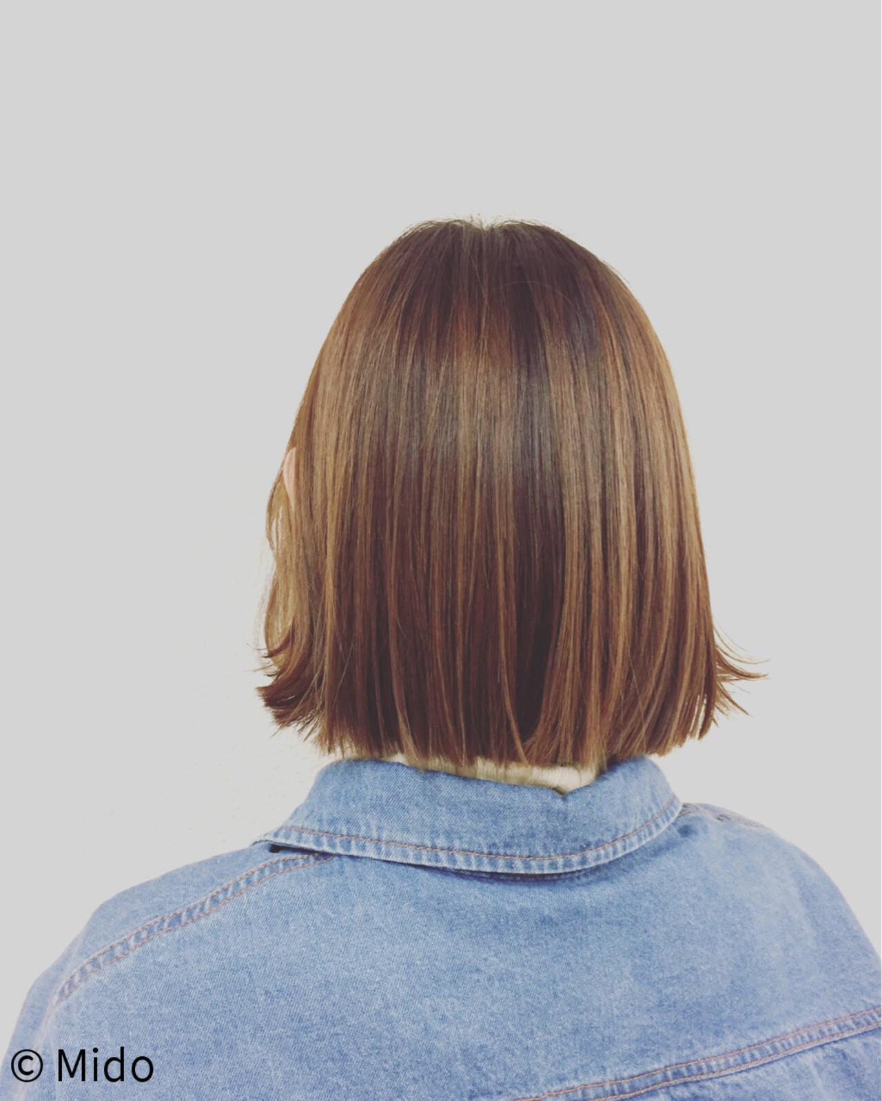 ナチュラル ニュアンス 外ハネ ブラントカットヘアスタイルや髪型の写真・画像