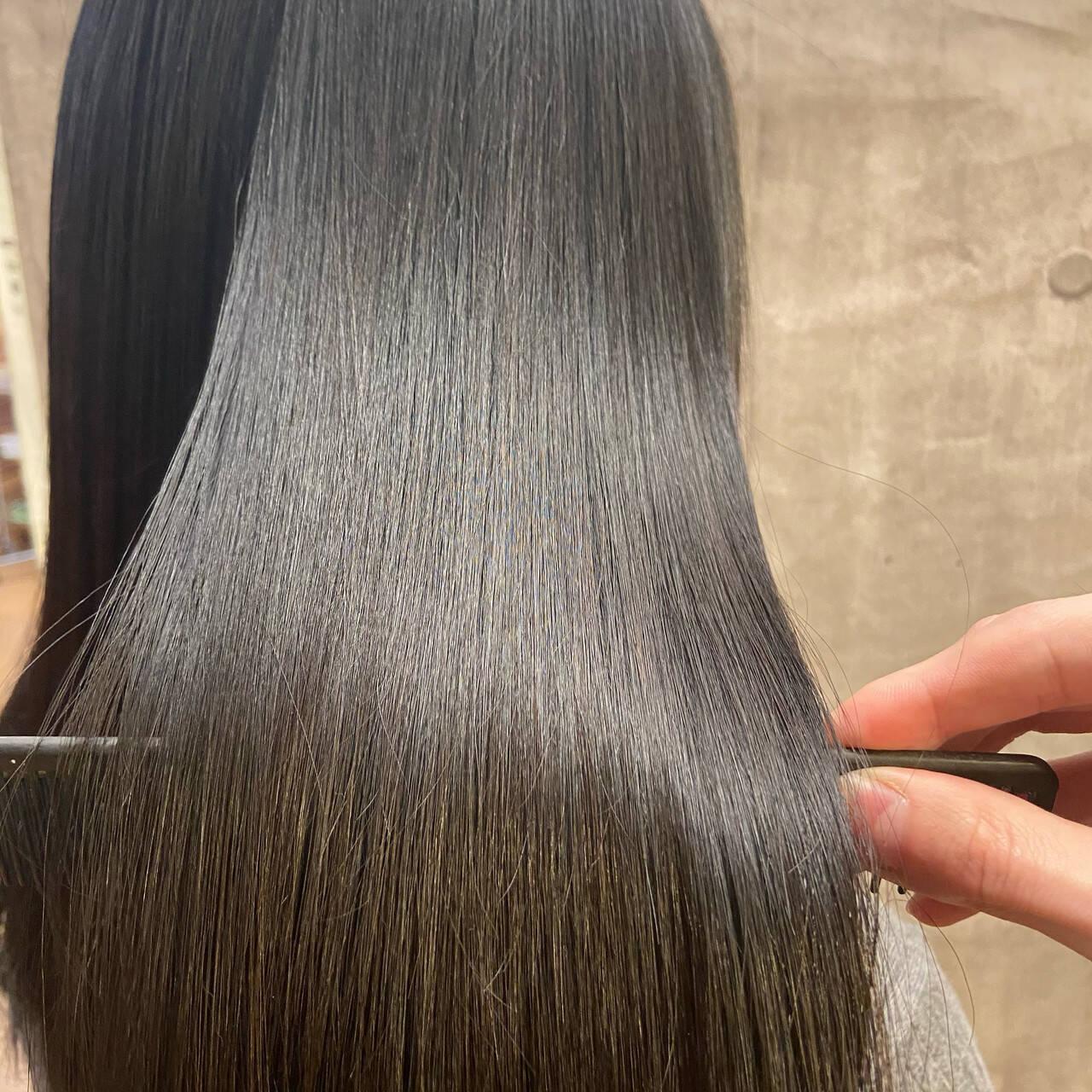 ナチュラル 髪質改善トリートメント ミディアム 髪質改善ヘアスタイルや髪型の写真・画像