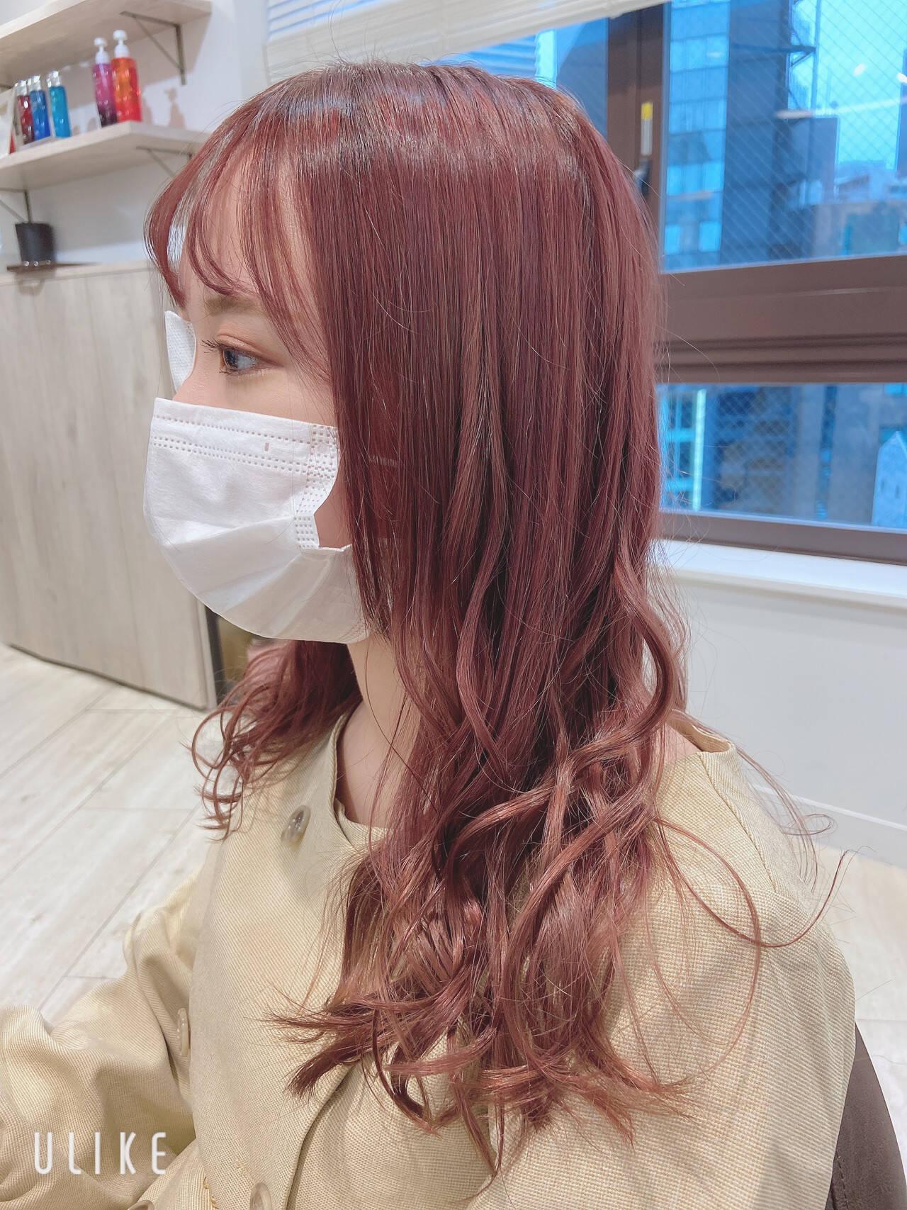 ピンクアッシュ ピンクベージュ フェミニン ラベンダーピンクヘアスタイルや髪型の写真・画像