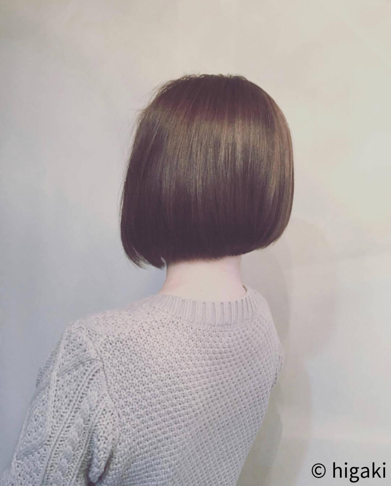 モード 大人カジュアル シンプルボブ 前下がりボブヘアスタイルや髪型の写真・画像