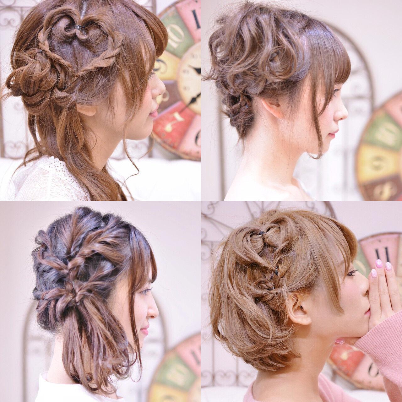 簡単ヘアアレンジ デート ヘアアレンジ ミディアムヘアスタイルや髪型の写真・画像