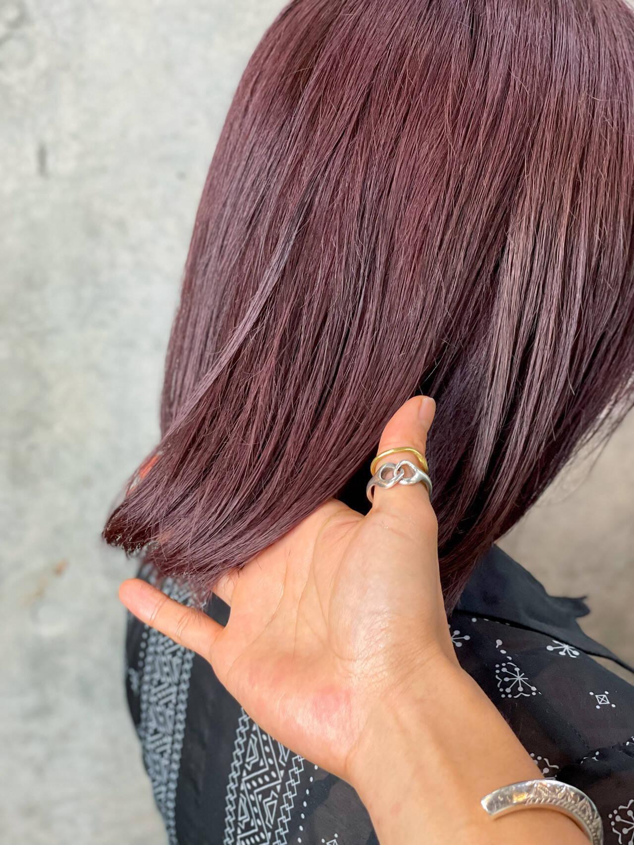 髪質改善 ラベンダーピンク ラベンダーアッシュ ボブヘアスタイルや髪型の写真・画像