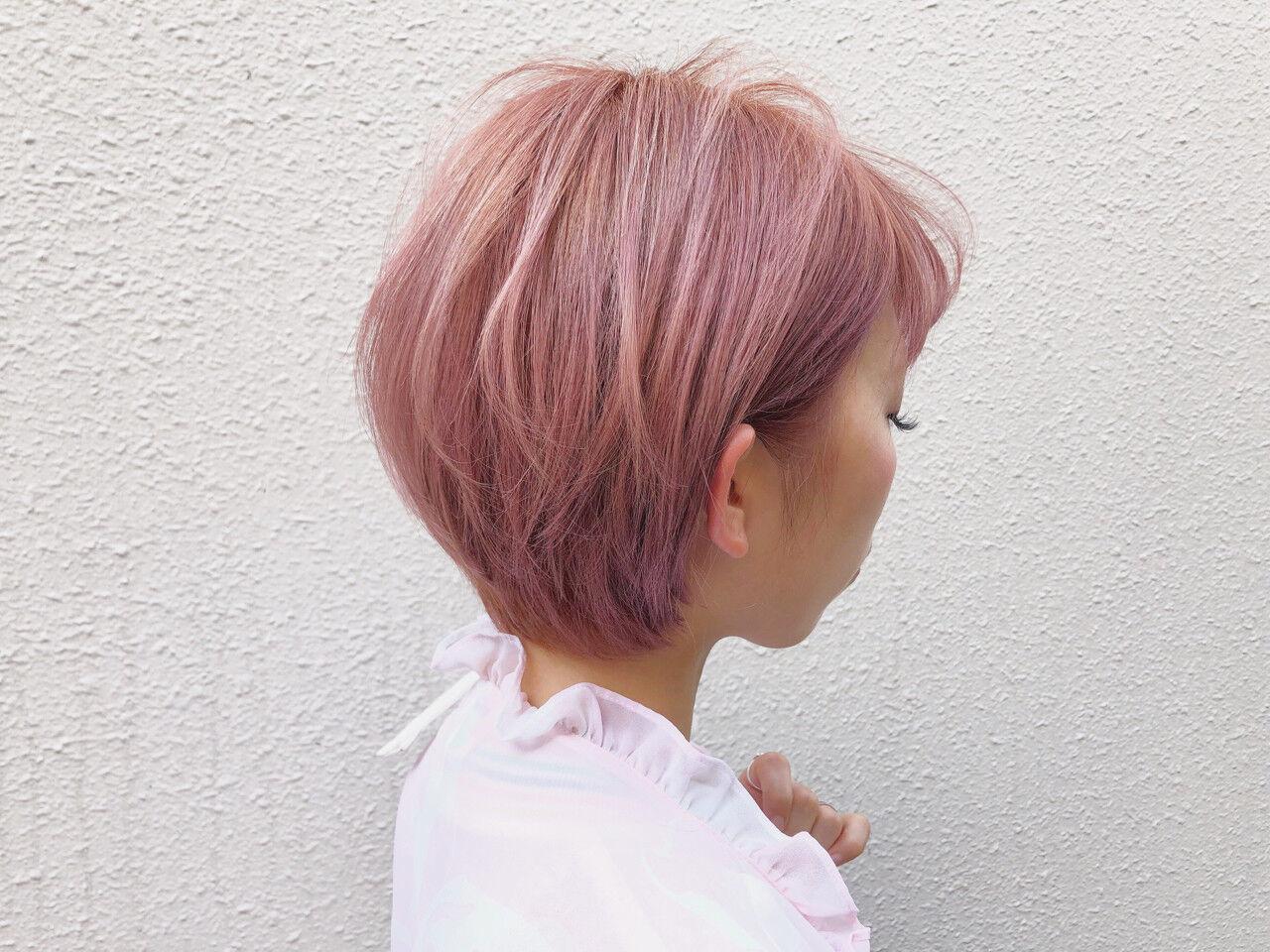 ベージュ ピンク 外国人風カラー ショートヘアスタイルや髪型の写真・画像