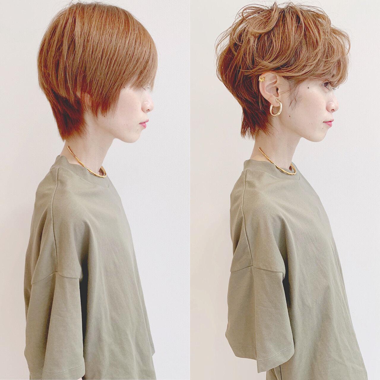 オフィス デート アウトドア ショートヘアスタイルや髪型の写真・画像