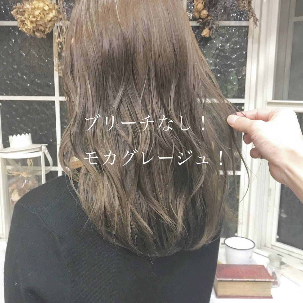ナチュラル ミルクティーベージュ ロング ブリーチなしヘアスタイルや髪型の写真・画像