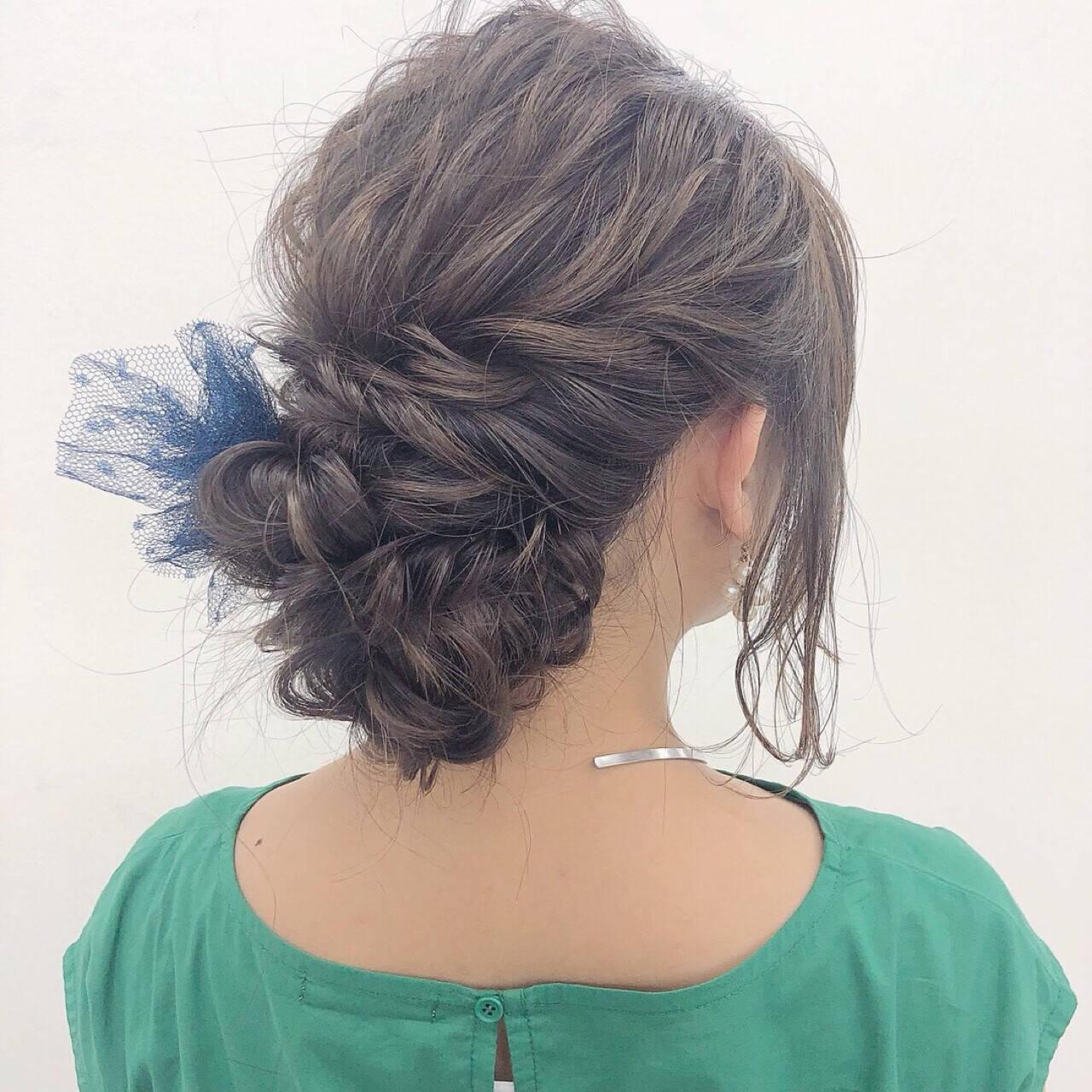 二次会 波ウェーブ ヘアアレンジ 結婚式ヘアスタイルや髪型の写真・画像
