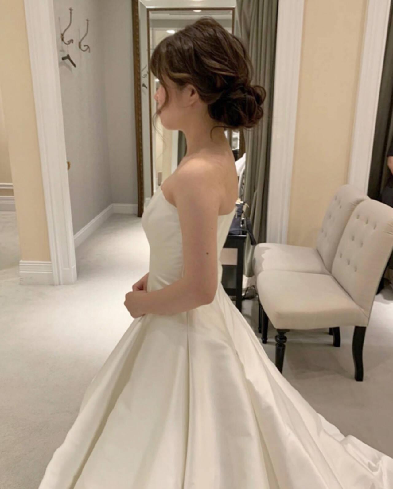 エレガント ヘアアレンジ ロング 花嫁ヘアスタイルや髪型の写真・画像