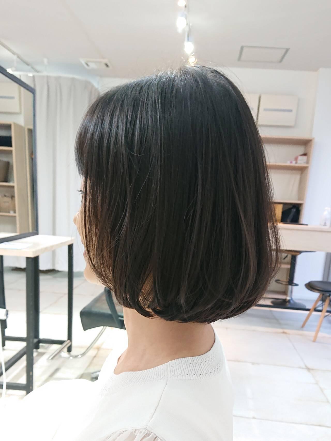 ナチュラル 透明感 ボブ 美シルエットヘアスタイルや髪型の写真・画像