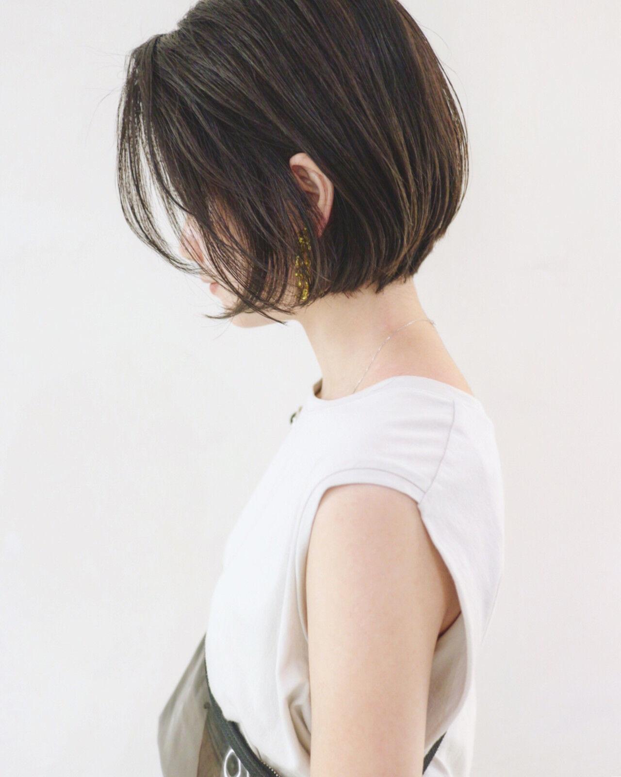 ボブ ショートボブ くせ毛風 ナチュラルヘアスタイルや髪型の写真・画像