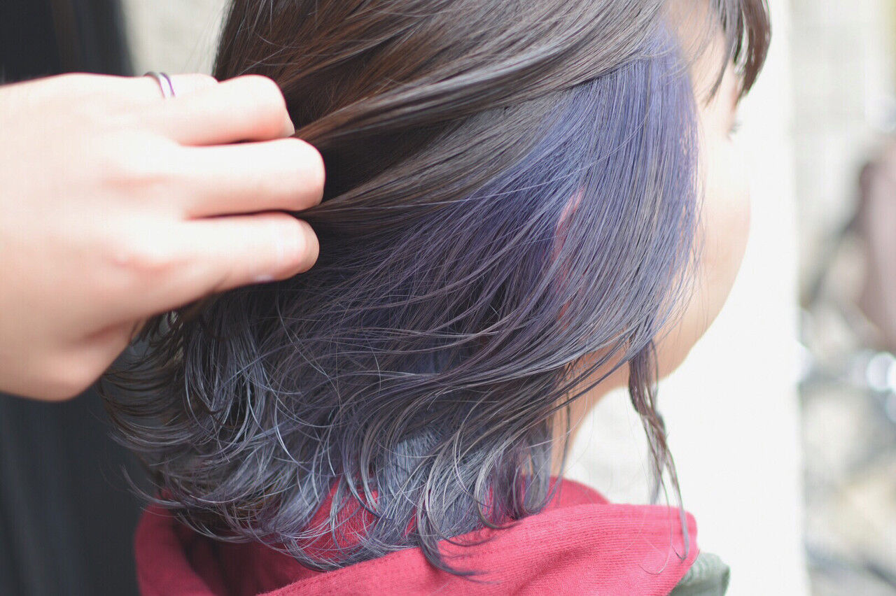 ヘアアレンジ ストリート ダブルカラー ボブヘアスタイルや髪型の写真・画像