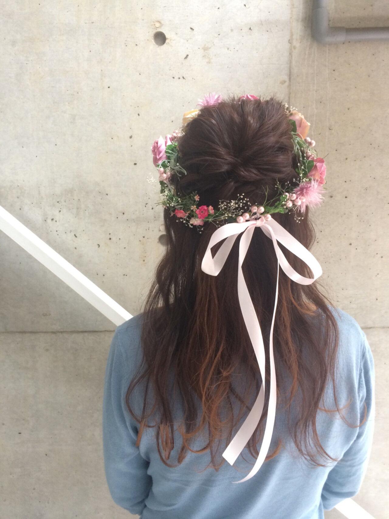 セミロング 結婚式 成人式 ヘアアレンジヘアスタイルや髪型の写真・画像