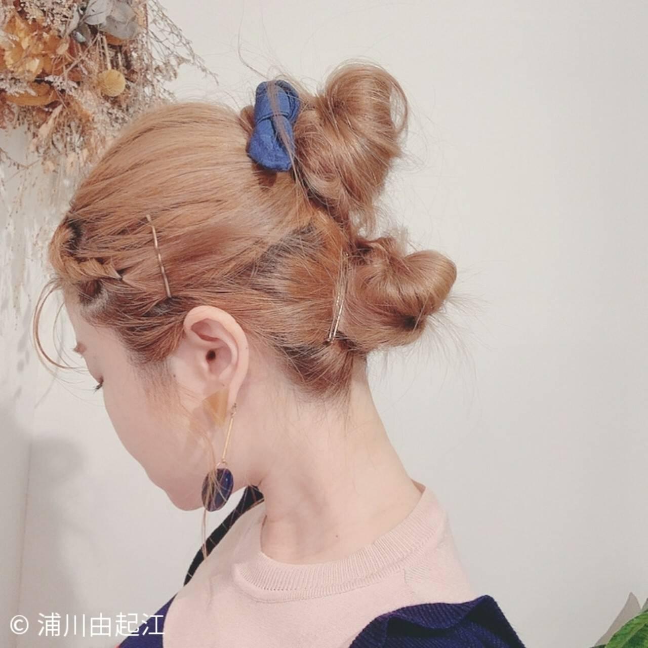 フェミニン ヘアアレンジ ゆるふわ ハイライトヘアスタイルや髪型の写真・画像