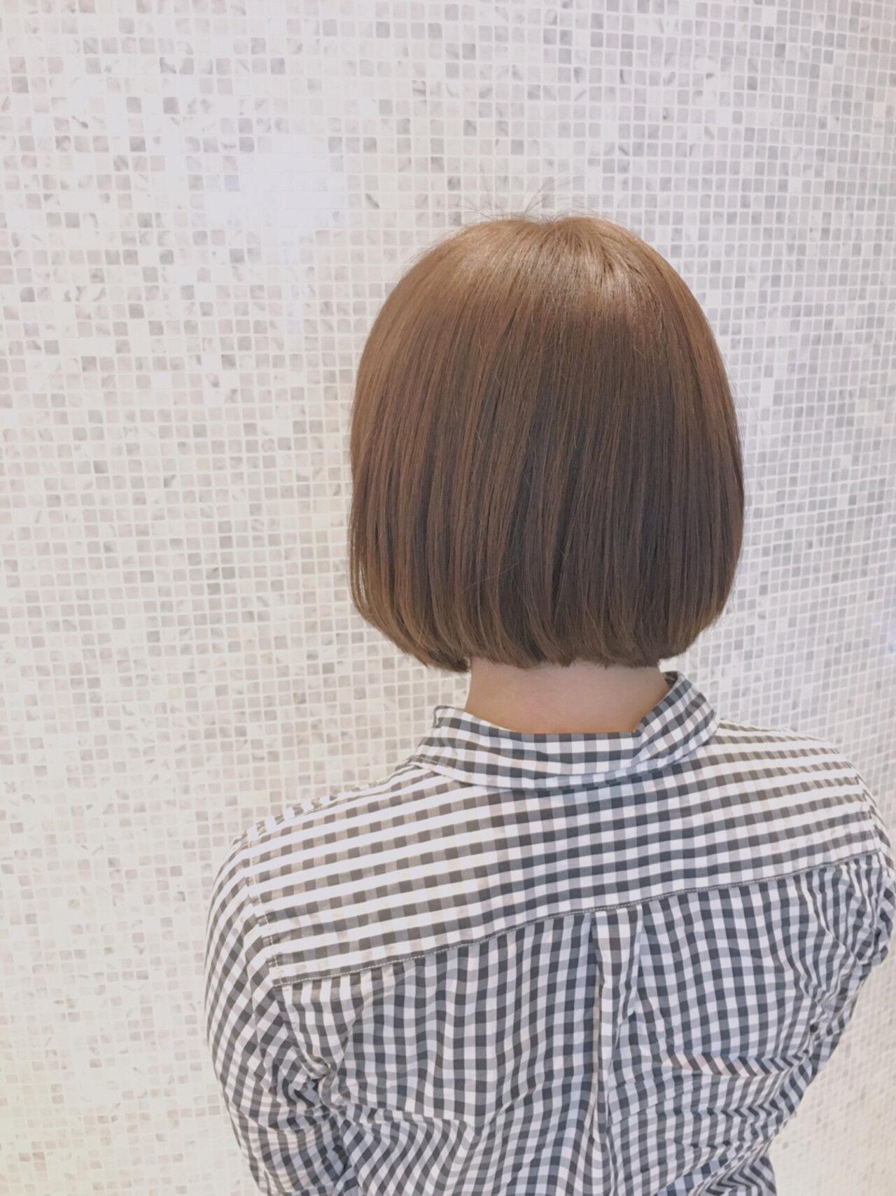 ボブ ベージュ 小顔 アッシュベージュヘアスタイルや髪型の写真・画像