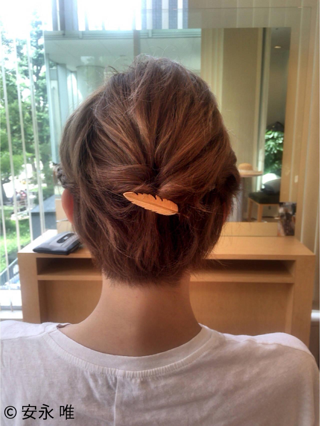 ヘアアレンジ ハイトーン まとめ髪 ショートヘアスタイルや髪型の写真・画像