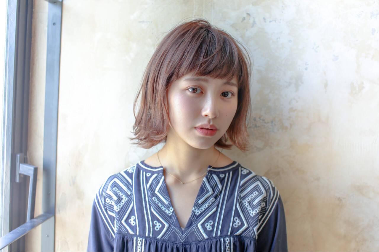 ボブ 女子力 ハイライト ナチュラルヘアスタイルや髪型の写真・画像