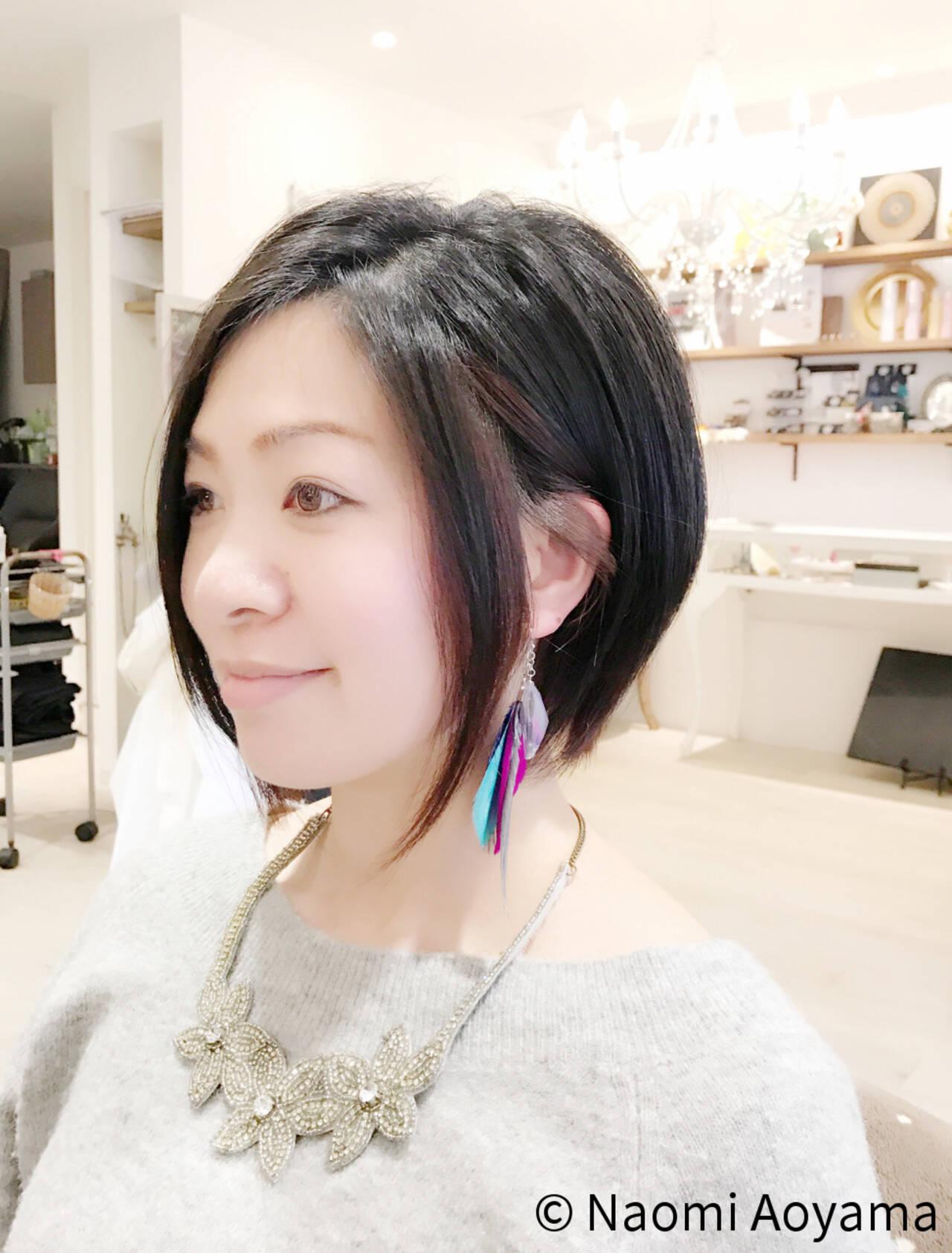 レッド アシメバング 黒髪 モードヘアスタイルや髪型の写真・画像