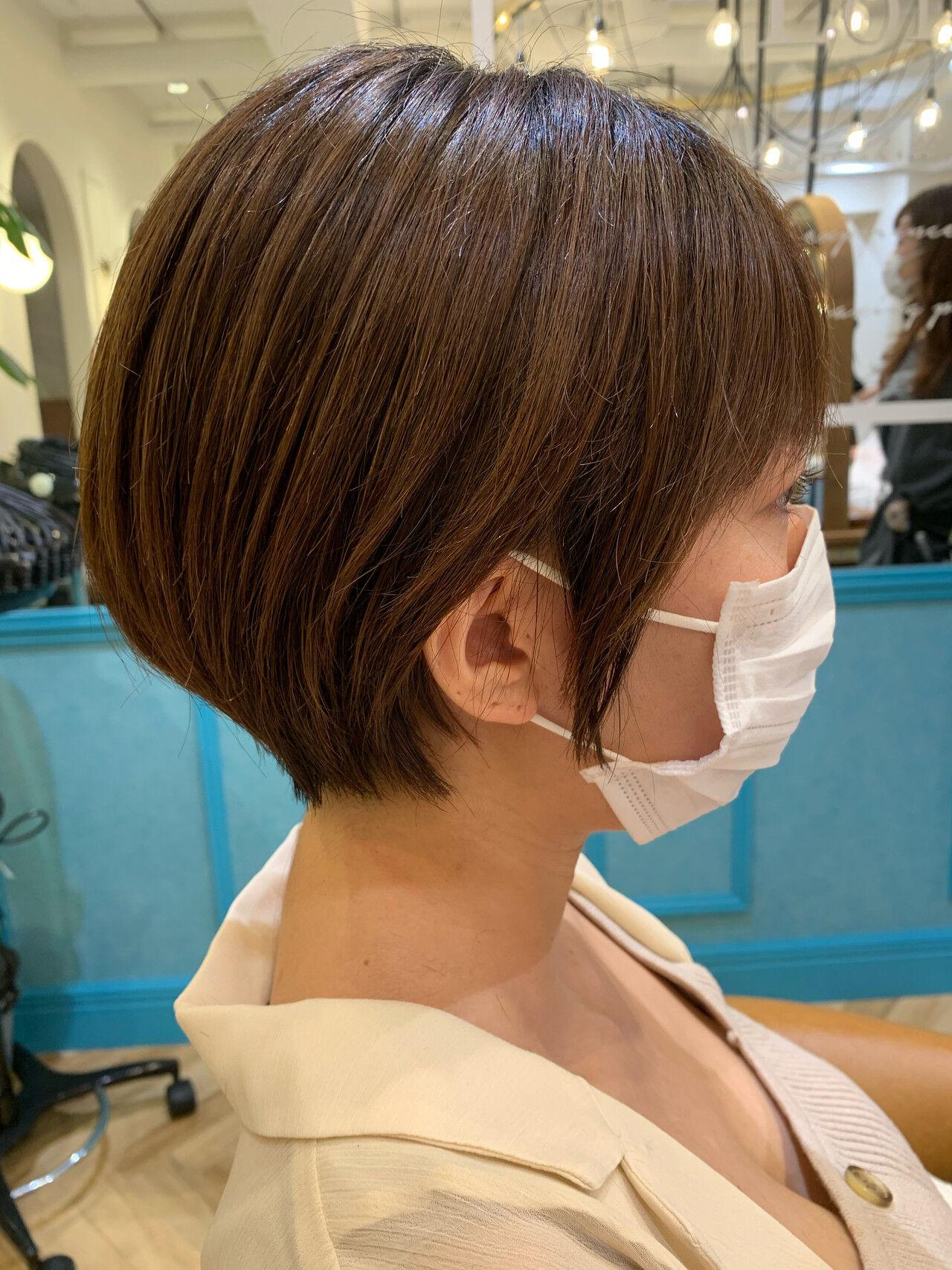 ショートボブ ショート ナチュラル ショートヘアヘアスタイルや髪型の写真・画像
