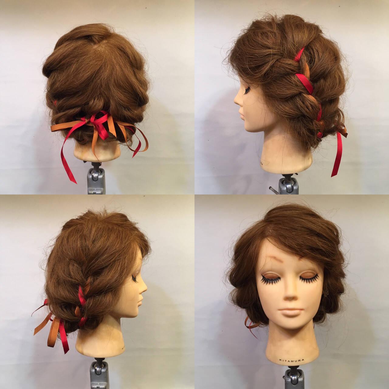 三つ編み 編み込み 謝恩会 セミロングヘアスタイルや髪型の写真・画像