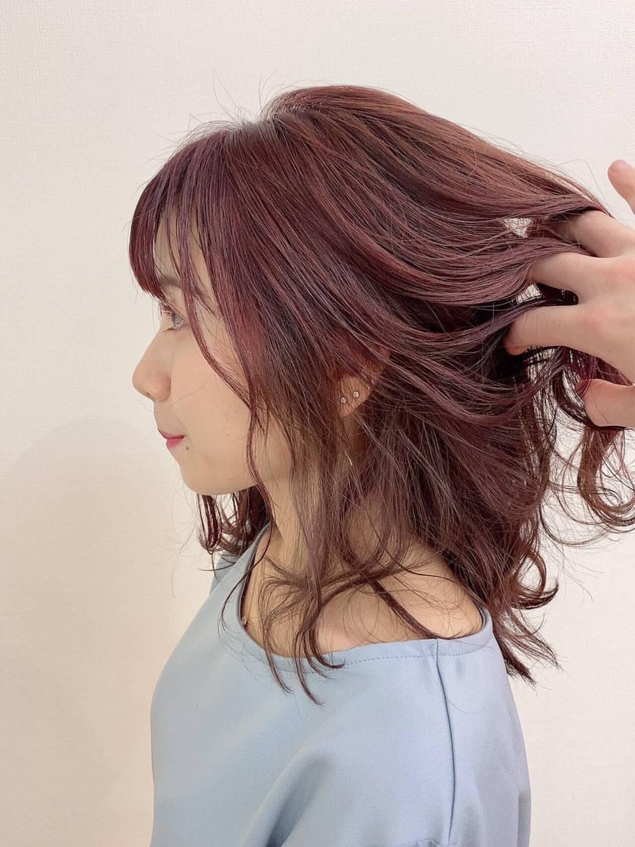フェミニン 大人可愛い ラベンダーピンク ミディアムヘアスタイルや髪型の写真・画像