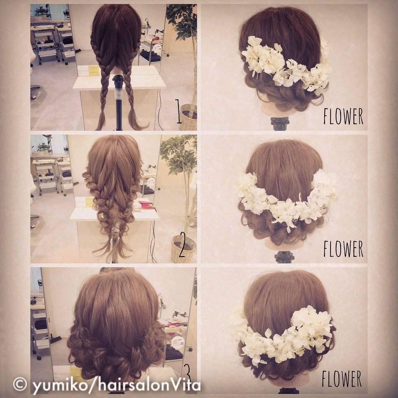 ショート 簡単ヘアアレンジ 結婚式 ナチュラルヘアスタイルや髪型の写真・画像