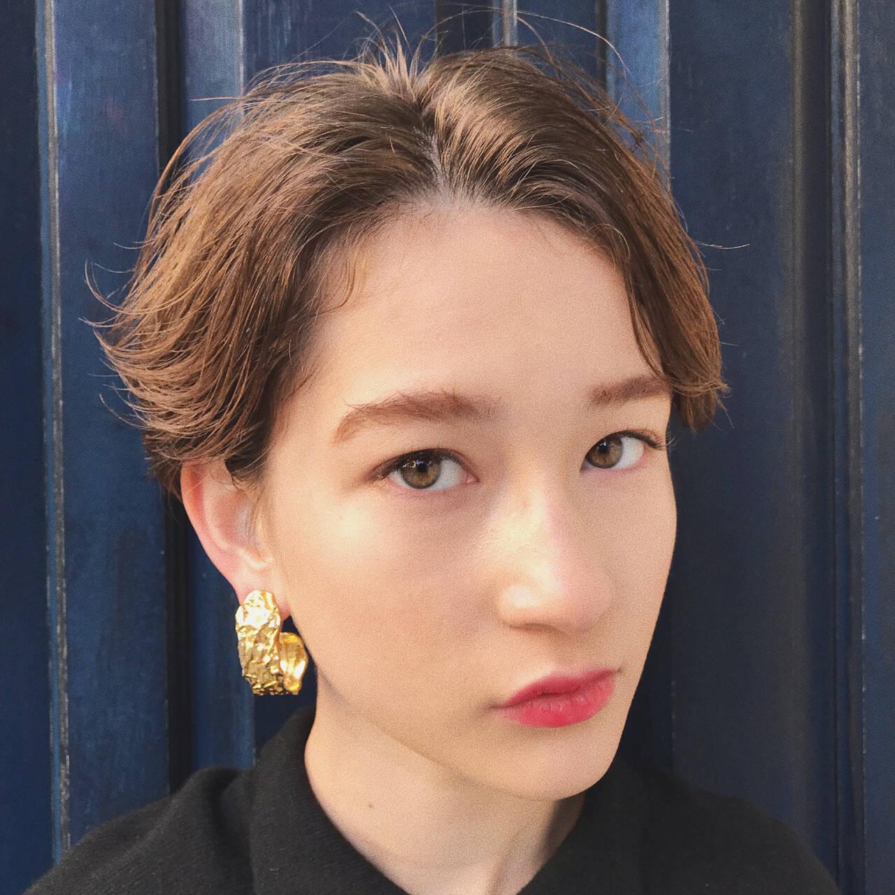 抜け感 パーマ モード ハンサムショートヘアスタイルや髪型の写真・画像